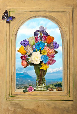 Poster featuring the photograph Bosschaert - Flowers In A Large Roemer by Levin Rodriguez