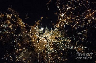 Boston At Night, Iss Image Poster by Nasa