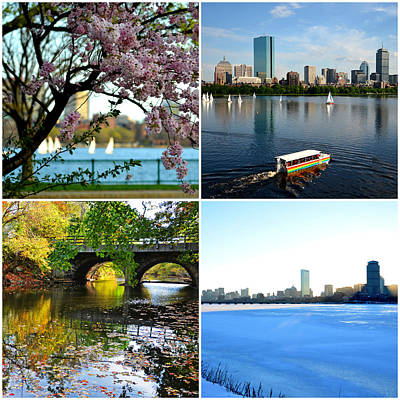 Boston Charles River Four Seasons Collage Poster