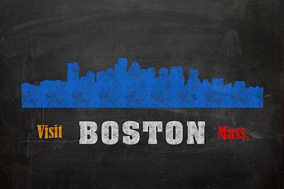 Boston City Skyline Chalkboard Chalk Art Poster