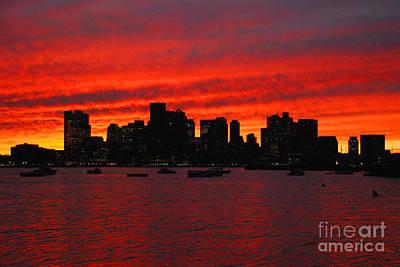 Boston City Sunset Poster