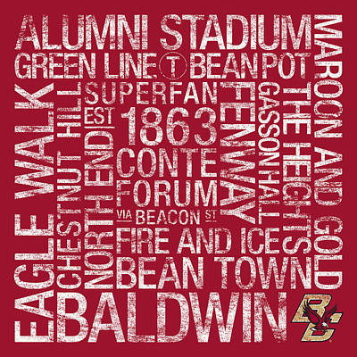 Boston College College Colors Subway Art Poster