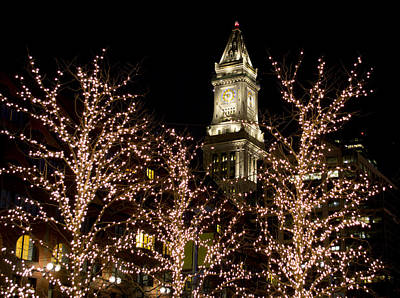 Boston Custom House With Christmas Lights Poster