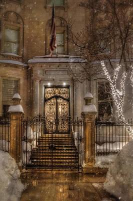 Boston Doorway In Snow - Back Bay Poster