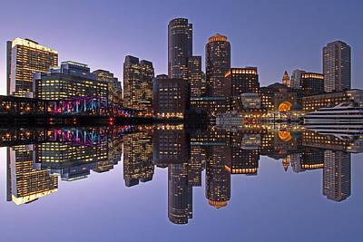 Boston Downtown Harbor Reflection  Poster