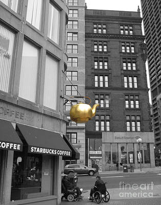 Poster featuring the photograph Boston Golden Teapot by Cheryl Del Toro