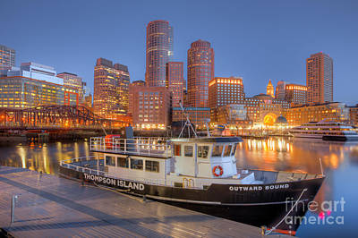 Boston Harbor And Skyline Morning Twilight I Poster