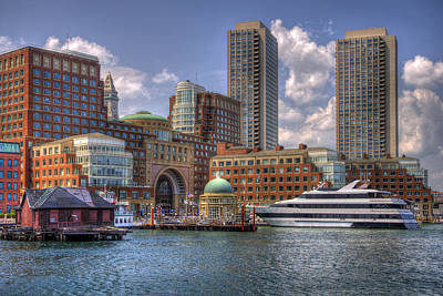 Boston Harbor And The Odyssey Poster by Joann Vitali