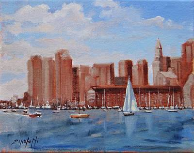 Boston Harbor View Poster by Laura Lee Zanghetti