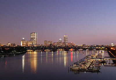 Boston Landmarks At Twilight Poster by Juergen Roth