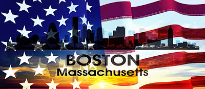 Boston Ma Patriotic Large Cityscape Poster by Angelina Vick