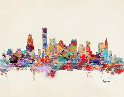 Boston Massachusetts Skyline Poster by Bri B