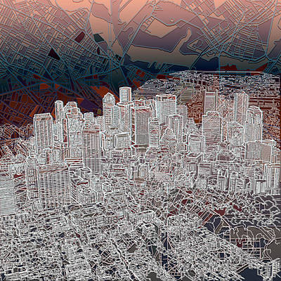 Boston Panorama Abstract 3 Poster