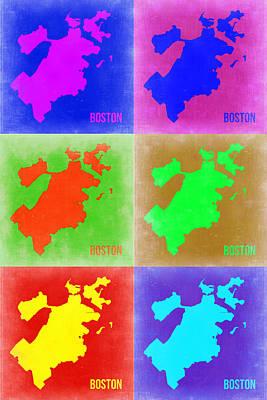 Boston Pop Art Map 3 Poster by Naxart Studio