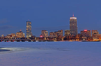 Boston Prudential Center Lit In Blue And Red For Super Bowl Xlix Poster by Juergen Roth