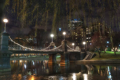 Boston Public Garden And Lagoon Bridge At Night Poster