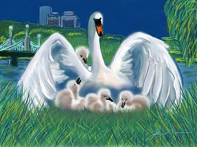 Boston Public Garden Swan Family Poster by Jean Pacheco Ravinski