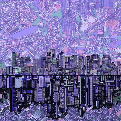 Boston Skyline Abstract Poster