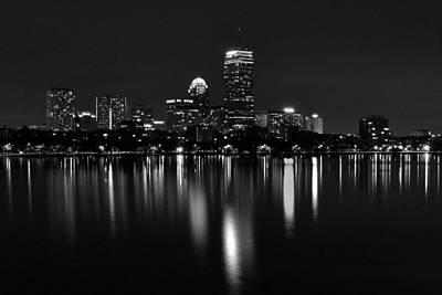 Boston Skyline By Night - Black And White Poster