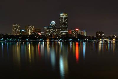 Boston Skyline By Night Poster