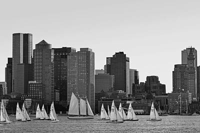 Boston Skyline From East Boston Black And White Poster by Toby McGuire
