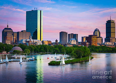 Boston Skyline Poster by Inge Johnsson
