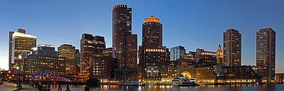 Boston Skyline Night Panorama Poster
