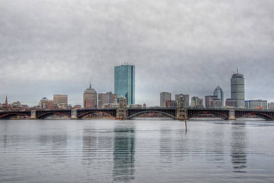 Boston Skyline On A Grey Day Poster by Joann Vitali