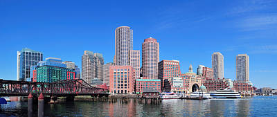 Boston Skyline Over Water Poster