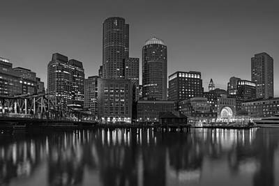Boston Skyline Seaport District Bw Poster by Susan Candelario