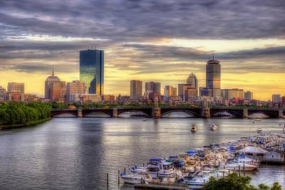 Boston Skyline Sunset - 5 Poster by Joann Vitali