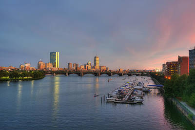 Boston Skyline Sunset And The Charles River Poster