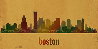 Boston Skyline Watercolor On Parchment Poster