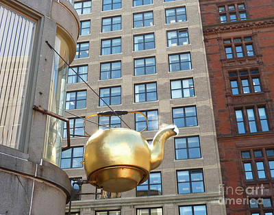 Poster featuring the photograph Boston Teapot - Color Closeup by Cheryl Del Toro