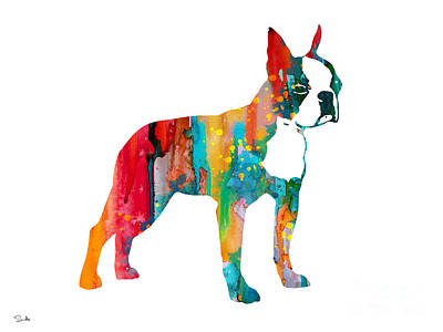 Boston Terrier 2 Poster by Watercolor Girl