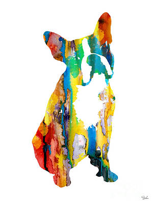 Boston Terrier 3 Poster by Watercolor Girl