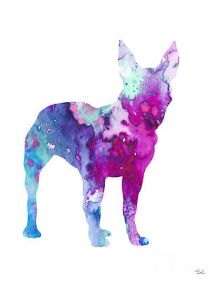 Boston Terrier 4 Poster by Watercolor Girl