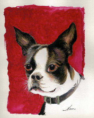 Poster featuring the painting Boston Terrier Dog by Nan Wright