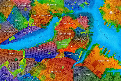 Boston Watercolor Map Poster by Paul Hein