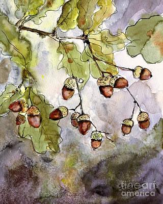 Botanical Acorns And Oak Leaves Poster