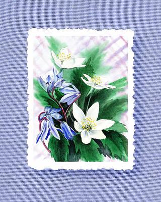 Botanical Impressionism Jasmine Flowers Bouquet Poster by Irina Sztukowski