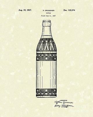 Bottle 1937 Patent Art Poster by Prior Art Design