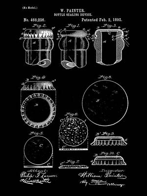 Bottle Cap Patent 1892 - Black Poster by Stephen Younts