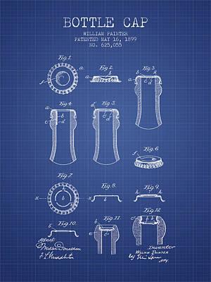 Bottle Cap Patent 1899- Blueprint Poster