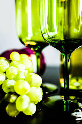 Bottle Glass And Grapes In Delightful Mix Poster by Tommytechno Sweden