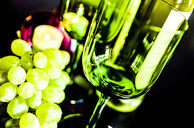 Bottle Glass And Grapes Poster