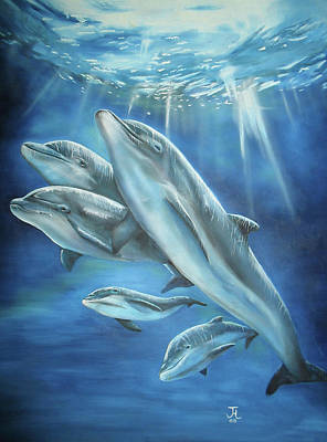 Poster featuring the painting Bottlenose Dolphins by Thomas J Herring