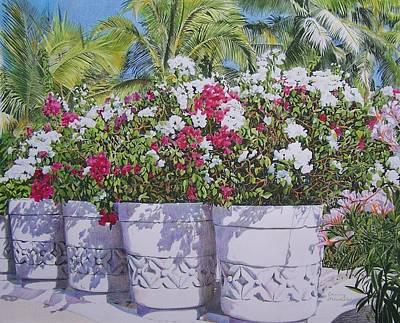 Poster featuring the mixed media Bougainvillea by Constance Drescher