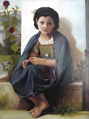 Bouguereau's Knitting Girl Poster by Zelma Hensel