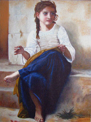 Bouguereau's Sewing Girl Poster by Zelma Hensel